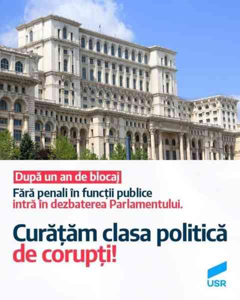 Inițiativa 'Fără penali în funcţii publice' intră în dezbaterea Parlamentului