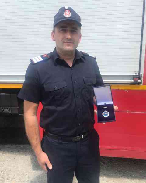 Pompierul sângeorzan Grigore Treancă, decorat de IGSU